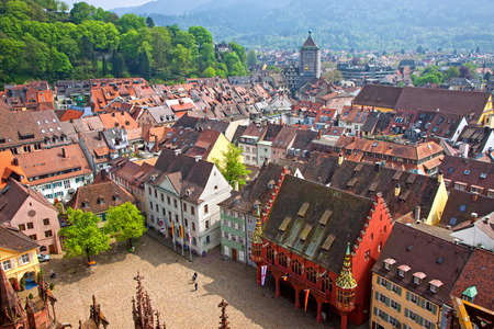 gothic architecture: Freiburg im Breisgau city, Baden-Wuerttemberg state, Germany  Skyline view from Freiburg Cathedral Editorial