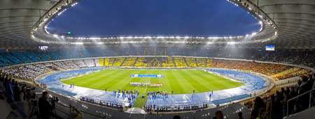 KYIV, UKRAINE - APRIL 16, 2014  Panoramic view of Olympic stadium  NSC Olimpiysky  during Ukraine Championship game between FC Dynamo Kyiv and FC Shakhtar Donetsk