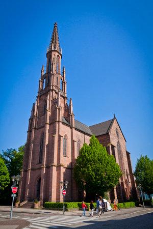 evangelical: Evangelical church  Evangelische Stadtkirche  in Offenburg city, Baden-Wurttemberg state, Germany Editorial