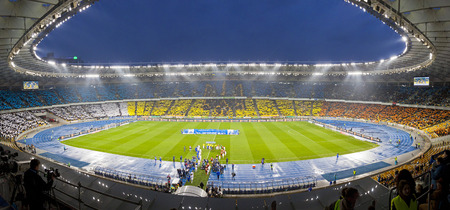 olimpiysky: KYIV, UKRAINE - APRIL 16, 2014  Panoramic view of Olympic stadium  NSC Olimpiysky  during Ukraine Championship game between FC Dynamo Kyiv and FC Shakhtar Donetsk Editorial