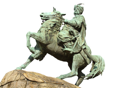 cossacks: Monument of Bohdan Khmelnytsky, the Hetman of Ukrainian Zaporozhian Cossacks, on Sofia square in Kyiv, Ukraine  The monument was created by sculptor Mikhail Mikeshin and was unveiled on 1888