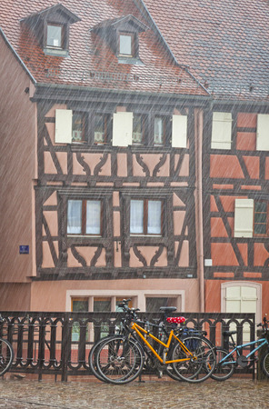 Picturesque city view during the summer rain  Colmar city, Alsace region, France photo