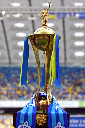 luhansk: KYIV, UKRAINE - MAY 18, 2014  Ukraine National Football Trophy  Cup  presents during the Ukraine Championship game between FC Dynamo Kyiv and FC Zorya Luhansk at Olympic stadium in Kyiv