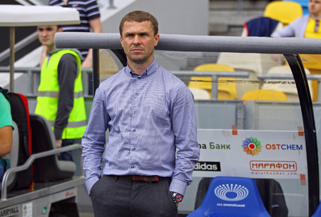 luhansk: KYIV, UKRAINE - MAY 18, 2014  FC Dynamo Kyiv manager Serhiy Rebrov looks on during Ukraine Championship game against FC Zorya Luhansk at Olympic stadium in Kyiv