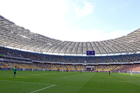 KYIV, UKRAINE - MAY 18, 2014  Olympic stadium  NSC Olimpiyskyi  during Ukraine Championship game between FC Dynamo Kyiv and FC Zorya Luhansk