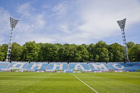 KYIV, UKRAINE - MAY 7, 2014  Dynamo Stadium named after Valeriy Lobanovskyi in Kiev  Stadium was built in 1934 and now it holds over 16800 people  It is the home stadium of FC Dynamo Kyiv