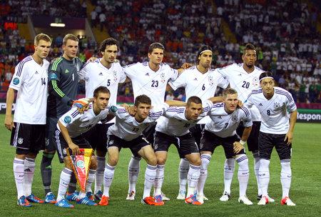 KHARKIV, UKRAINE - 13 June, 2012  German national football team pose for a group photo before UEFA EURO 2012 game against Netherlands
