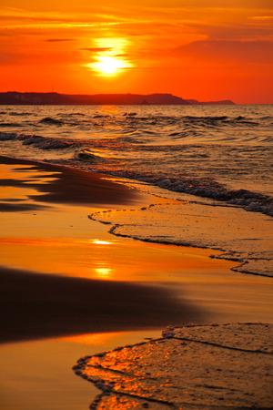 Sunset over the Baltic Sea in Swinoujscie, Poland photo
