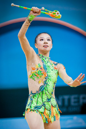 deng: KYIV, UKRAINE - AUGUST 30, 2013  Senyue Deng of China performs during 32nd Rhythmic Gymnastics World Championship  Individual All-Around competition  Editorial
