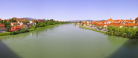 drava: Panoramic view of Drava river in Maribor city, Slovenia