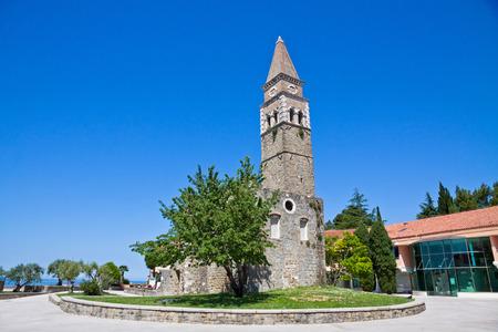 mediteranean: Tower of ancient monastery San Barnardin, Portoroz, Slovenia Stock Photo
