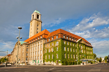 Building of Berlin-Spandau Town Hall (Rathaus Spandau), Germany. It is the town hall of the borough of Spandau in the western suburbs of Berlin