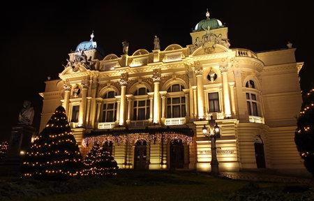 cracovia: Juliusz Slowacki Theatre at night, Krakow, Poland