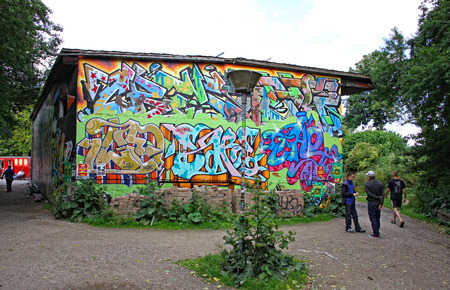 COPENHAGEN, DENMARK - JULY 28, 2012: Christiania, also known as Freetown Christiania is a self-proclaimed autonomous neighbourhood, covering 34 hectares in the borough of Christianshavn in Copenhagen Editorial