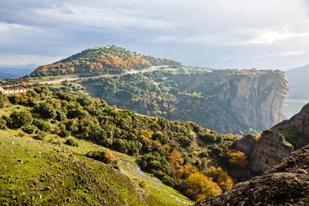 kalampaka: Picturesque view of Meteora Rocks and Monasteries, Trikala region, Greece Stock Photo
