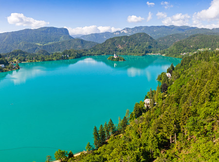 Panoramic aerial view of Bled Lake, Slovenia