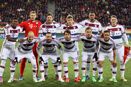 LVIV, UKRAINE - FEBRUARY 17, 2015: FC Bayern Munich players pose for a group photo before UEFA Champions League game against FC Shakhtar Donetsk at Arena Lviv stadium