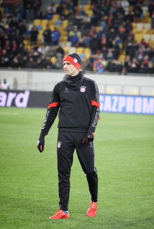 uefa: LVIV, UKRAINE - FEBRUARY 17, 2015: Thomas Muller of Bayern Munich looks on before UEFA Champions League game against FC Shakhtar Donetsk