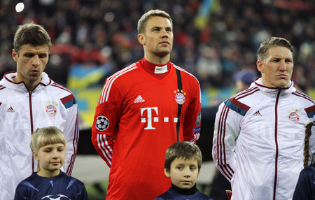 manuel: LVIV, UKRAINE - FEBRUARY 17, 2015: FC Bayern Munich players looks on before UEFA Champions League game against FC Shakhtar Donetsk at Arena Lviv stadium Editorial