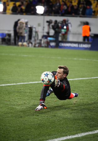 manuel: LVIV, UKRAINE - FEBRUARY 17, 2015: Goalkeeper Manuel Neuer of Bayern Munich in action during warm up session before UEFA Champions League game against FC Shakhtar Donetsk Editorial