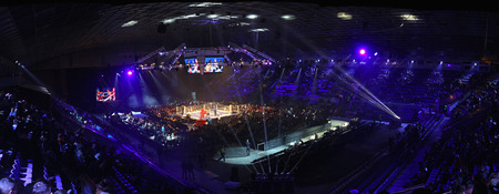 KYIV, UKRAINE - DECEMBER 13, 2014: Panoramic view of tribunes of Palace of Sports in Kyiv during \Evening of Boxing\