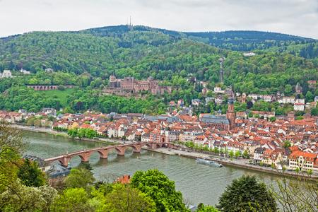 Aerial skyline view of Heidelberg old town, Germany photo