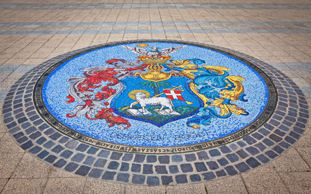 city coat of arms: Mosaic with Coat of Arms of Debrecen city, Hungary