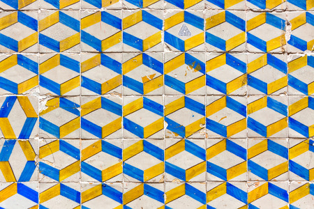 Typical Lisbon old ceramic wall tiles (azulejos) on the building exterior in Lisbon, Portugal photo