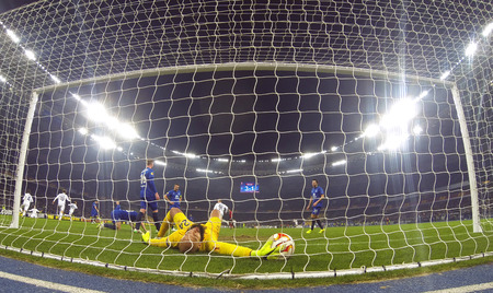 gusev: KYIV, UKRAINE - MARCH 19, 2015: Goalkeeper Tim Howard of FC Everton missed a goal during UEFA Europa League game against FC Dynamo Kyiv at Olympic stadium in Kyiv