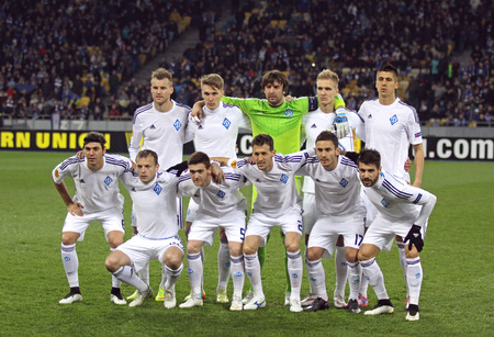 gusev: KYIV, UKRAINE - MARCH 19, 2015: FC Dynamo Kyiv players pose for a group photo before UEFA Europa League game against FC Everton at Olympic stadium in Kyiv Editorial