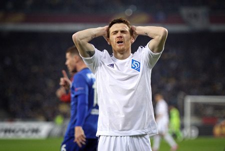 reacts: KYIV, UKRAINE - MARCH 19, 2015: Antunes of FC Dynamo Kyiv reacts after missed a goal during UEFA Europa League game against FC Everton at Olympic stadium in Kyiv Editorial