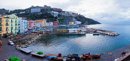 Panoramic view of small harbour in Sorrento city, Campania province, Italy Editorial