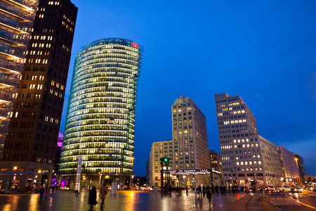 db: BERLIN GERMANY  MARCH 4 2015: Evening view of Potsdamer Platz. The new modern city center and financial district of Berlin