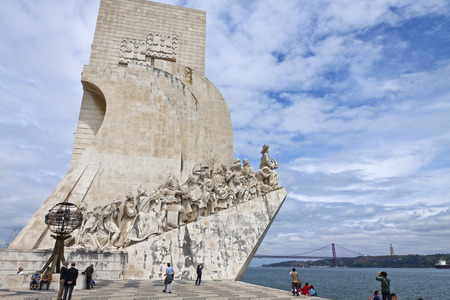 age 10: LISBON PORTUGAL  JUNE 10 2013: Monument to the Discoveries located in the Belem district of Lisbon city Portugal. Celebrates the Portuguese who took part in the Age of Discovery Editorial