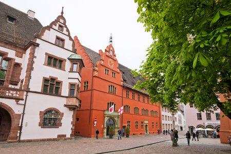 freiburg: FREIBURG IM BREISGAU GERMANY  MAY 1 2013: Historical buildings at Rathausplatz Town hall square in Freiburg im Breisgau city BadenWurttemberg state Germany