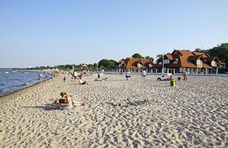 baltic people: SOPOT POLAND  JULY 26 2012: People sunbathing at the beach in Sopot city Baltic sea Poland