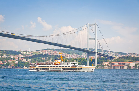 bosporus: Bosphorus Bridge also called the First Bosphorus Bridge over the Bosphorus strait in Istanbul, Turkey. Built in 1973 and connecting Europe and Asia