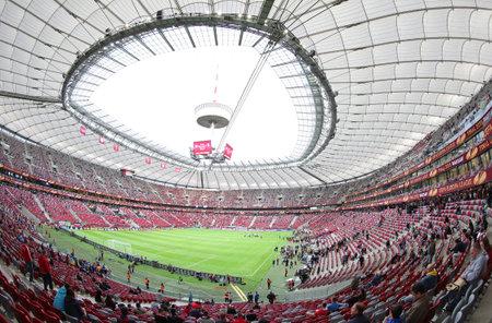 uefa: WARSAW, POLAND - MAY 27, 2015: Panoramic view of Warsaw National Stadium Stadion Narodowy during UEFA Europa League Final game between Dnipro and Sevilla