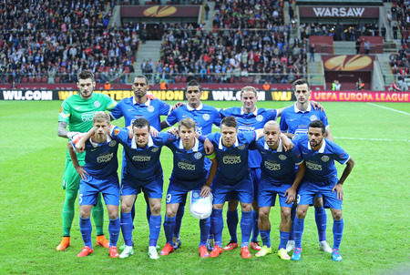 dnipro: WARSAW, POLAND - MAY 27, 2015: FC Dnipro players pose for a group photo before UEFA Europa League Final game against FC Sevilla at Warsaw National Stadium