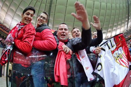 dnipro: WARSAW, POLAND - MAY 27, 2015: Supporters celebrate after FC Sevilla won the UEFA Europa League 2015 in game against Dnipro at Warsaw National Stadium