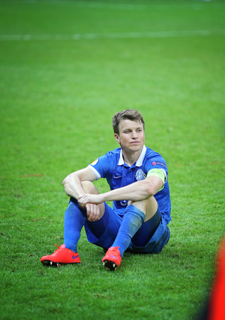 reacts: WARSAW, POLAND - MAY 27, 2015: Ruslan Rotan reacts after FC Dnipro loses the Final game of UEFA Europa League against FC Sevilla at Warsaw National Stadium Editorial