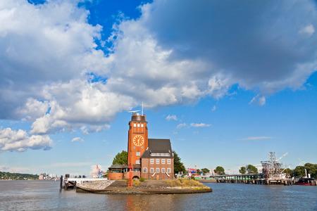 st pauli: Building of Hamburg Harbour Pilots Association German: Lotsenhaus Seemannshoft at the entrance to the port of Hamburg on Elbe river, Germany
