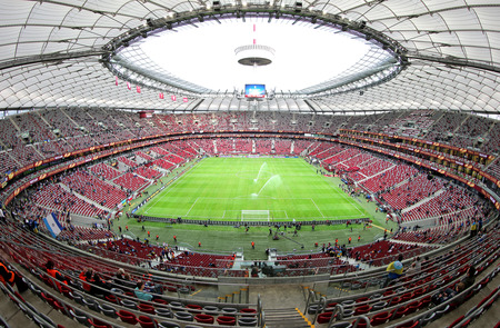 WARSAW, POLAND - MAY 27, 2015: Panoramic view of Warsaw National Stadium Stadion Narodowy before UEFA Europa League Final game between Dnipro and Sevilla