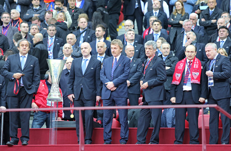 WARSAW, POLAND - MAY 27, 2015: VIP guests of UEFA Europa League Final game Dnipro vs Sevilla: Michael Platini, Gianni Infantino, Zbigniew Boniek, Angel Villar, Jose Maria del Nido and Hryhoriy Surkis