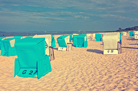 seacoast: Hooded beach chairs strandkorb at the Baltic seacoast in Swinoujscie, Poland Instagram filter
