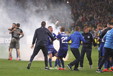 Napoli: KYIV, UKRAINE - MAY 14, 2015: FC Dnipro players and coaches celebrate victory after UEFA Europa League semifinal game against Napoli at NSK Olimpiyskyi stadium