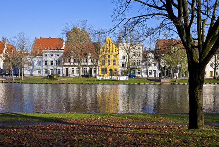 trave: Skyline of the medieval city of Lubeck, Germany Stock Photo