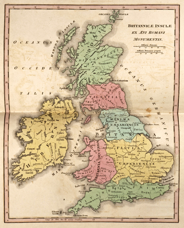 isles: Ancient map of British Isles, showing its various regions under Roman times (Brittannicae Insule ex Aevi Romani Monumentis) Editorial