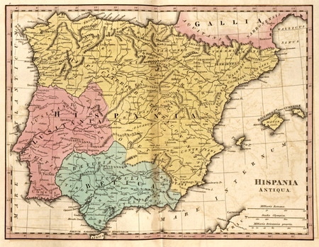 historic vintage: Detailed map of the Iberian Peninsula and the Balearic Isles at the time of the Roman Empire (Hispania Antiqua antea Iberia)