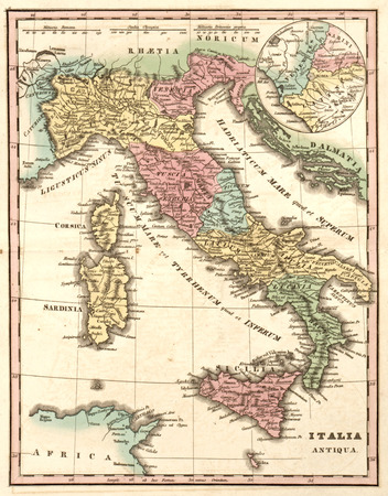 Ancient map of Italy at the time of the Roman Empire (Italia Antiqua)